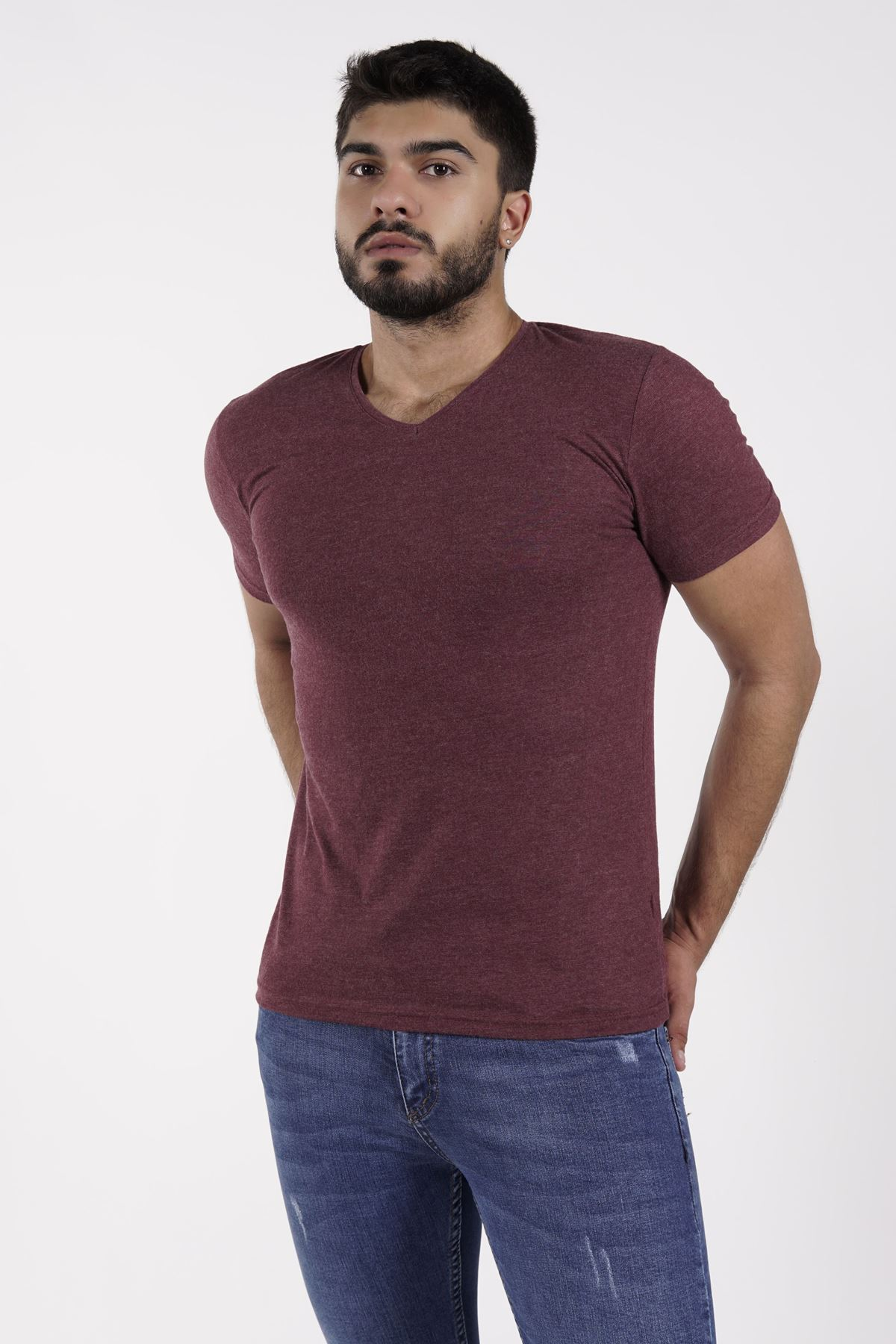 TROY LİFE Petek Vafıl Bordo Erkek T-shirt