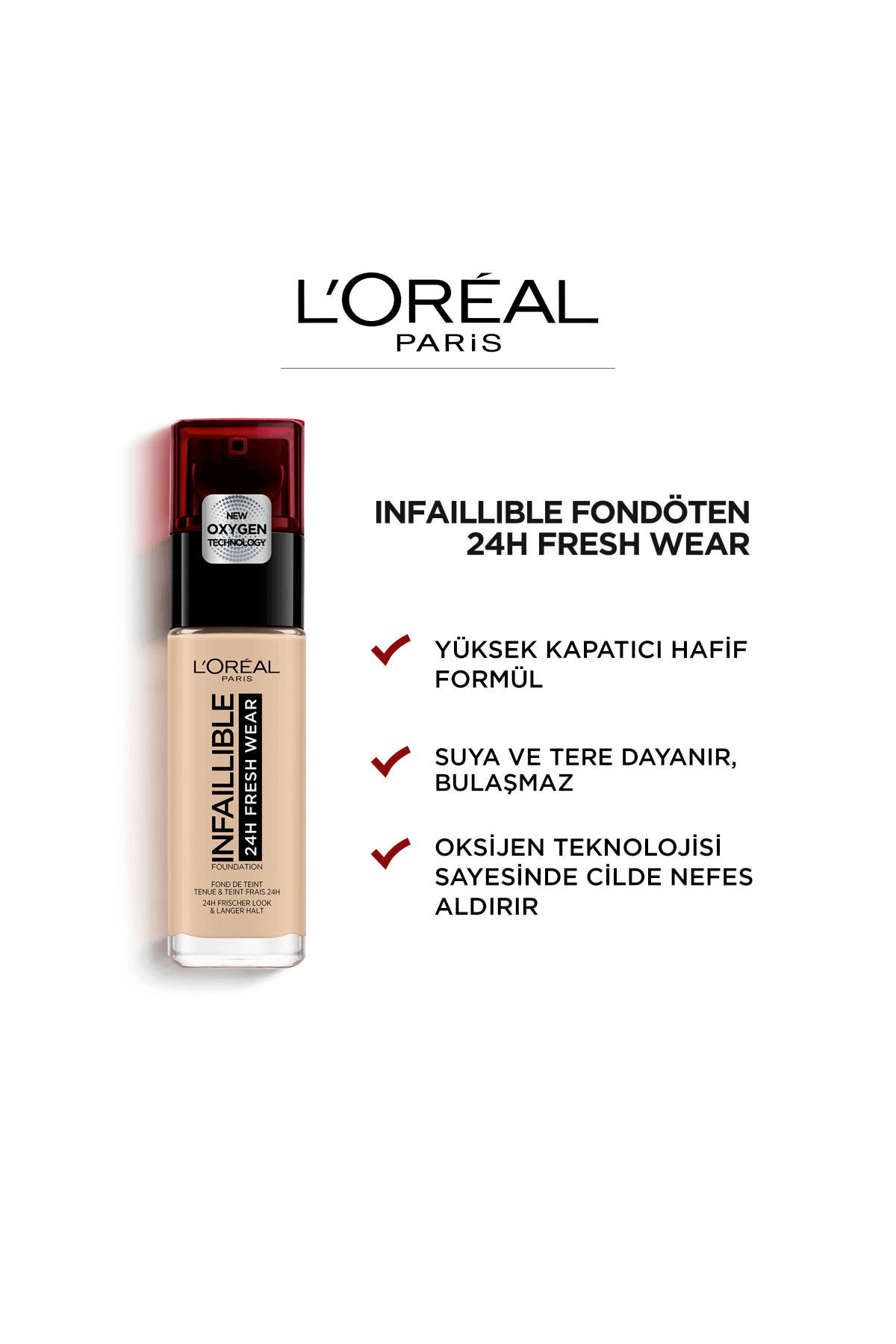 L'Oréal Paris Infallible Fresh Wear 24H Fondöten 125 Natural Rose 30 ml